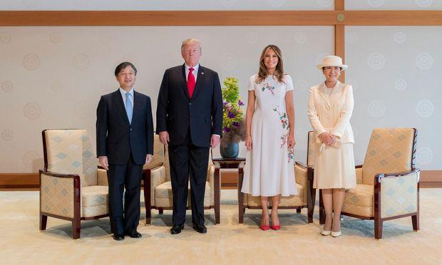 Japans Kaiser Naruhito, Präsident Donald Trump, First Lady Melania Trump und Kaiserin Masako.