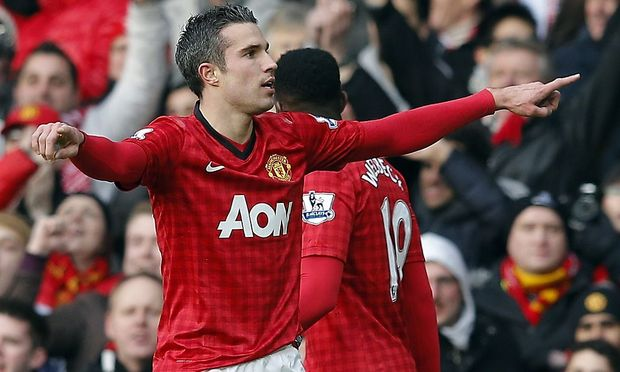 Manchester United's van Persie celebrates his goal against Liverpool during their English Premier League soccer match in Manchester