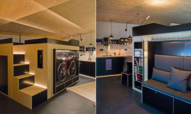 """Raum im Raum: Das """"Kammerspiel"""" nimmt verschiedene Wohnfunktionen auf."""