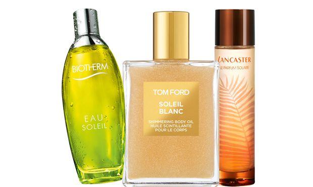 """Sonnengrüße. """"Le Parfum Solaire"""" von Lancaster (40 Euro), """"Soleil Blanc Shimmering Body Oil"""" von Tom Ford (90 Euro), """"Eau Soleil"""" von Biotherm (45 Euro)."""