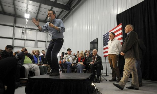 U.S. Republican presidential candidate Cruz speaks at the Webster City Municipal Airport in Webster City, Iowa