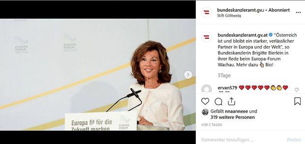 Eines der bisher zehn Posts auf dem Instagram-Account des Bundeskanzleramts seit der Übernahme der Amtsgeschäft von Brigitte Bierlein.