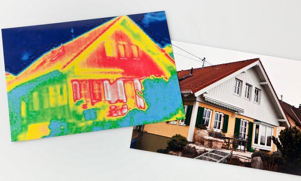 Thermografische Aufnahme: Die Farbunterschiede zeigen mögliche Schwachstellen der Fassade an.