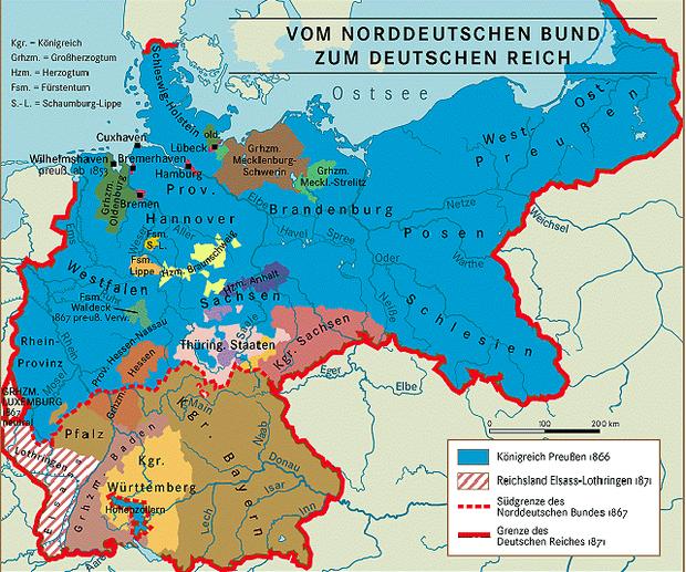 Lage von Elsaß-Lothringen (rot-weiß schraffiert) im Deutschen Reich