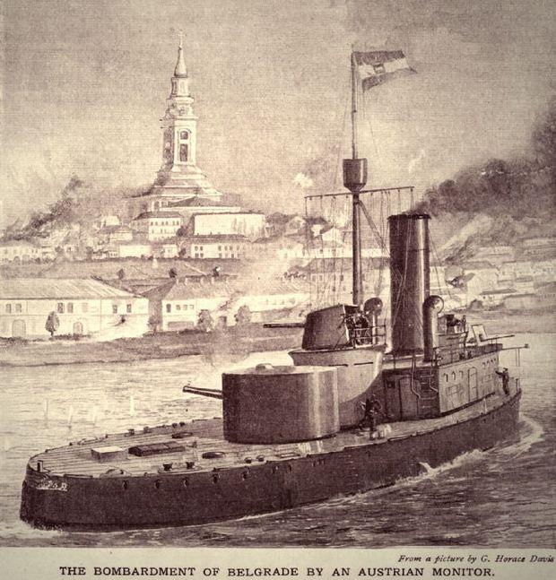 Beschuss Belgrads durch ein österreichisches Flusskanonenboot