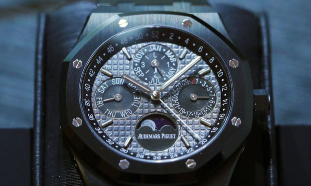 A Royal Oak model is pictured on the Audemars Piguet stand at the SIHH watch fair in Geneva