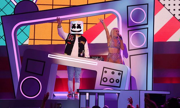 Anne-Marie and Marshmello perform at the iHeartRadio MuchMusic Video Awards (MMVA) in Toronto