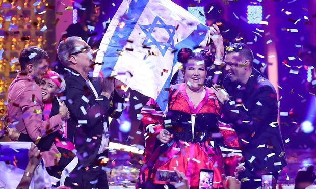 LISBON PORTUGAL MAY 13 2018 Singer Netta Barzilai R representing Israel wins the Grand Fina
