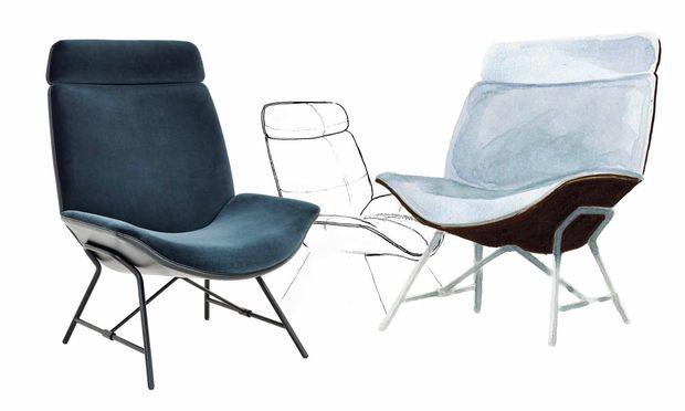 """Mischformen. Skizzen zum Lounge Chair """"MelaMischformen. Skizzen zum Lounge Chair """"Melange"""" von Wittmann. nge"""" von Wittmann."""