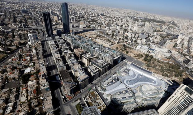 A general view of the skyline as seen from Jordan´s first ´Air Taxi´, in Amman