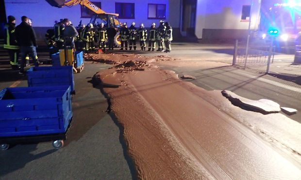 Spilt chocolate is seen on a road in Werl