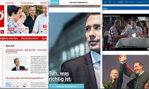 Drei Stile für den Wahlkampf in Rot, Türkis und Blau. Die Homepages von SPÖ, ÖVP und FPÖ sollen mobilisieren.