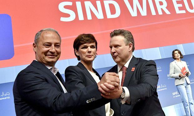 EU-Spitzenkandidat Andreas Schieder, SPÖ-Chefin Pamela-Rendi Wagner und Wiens Bürgermeister Michael Ludwig