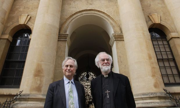 Archivbild: Atheist Richard Dawkins (links) mit dem Erzbischof von Cantebury Rowan Williams.
