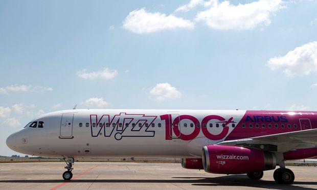 A Wizz Air Airbus A321 aircraft is seen on the tarmac during the unveiling ceremony of the 100th plane of its fleet at Budapest Airport