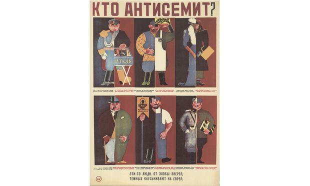 """""""Wer ist Antisemit?"""": Propagandaplakat der Sowjetunion aus den Zwanzigerjahren, das sich gegen Antisemitismus wendet."""