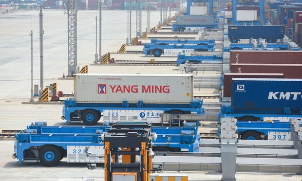Automated guided vehicles (AGV) are seen at an automated container terminal in Qingdao port