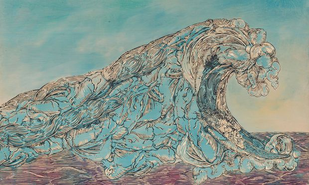 """Die Wiener Galeristin Gabriele Senn zeigt Werke von Hans Weigand, darunter """"Welle aus dem 16. Jh.""""."""