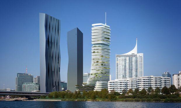 Der erste DC Tower (l.) steht bereits, der zweite ist immer noch in Planung. Die Danube Flats (Mitte) werden ab April gebaut, neben dem Harry-Seidler-Turm. / Bild: (c) project A01 architects