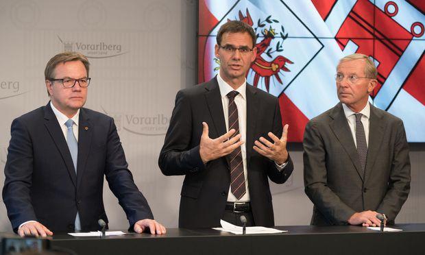 Tirols Landeshauptmann Günther Platter, Vorarlberg Landeshauptmann Markus Wallner und Salzburgs Landeshauptmann Wilfried Haslauer