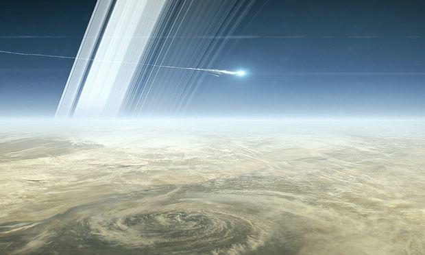 Ein Ende als Sternschnuppe. So soll es aussehen, wenn Cassini nach fast 20 Jahren im All am Freitag in Saturns Atmosphäre verglüht.