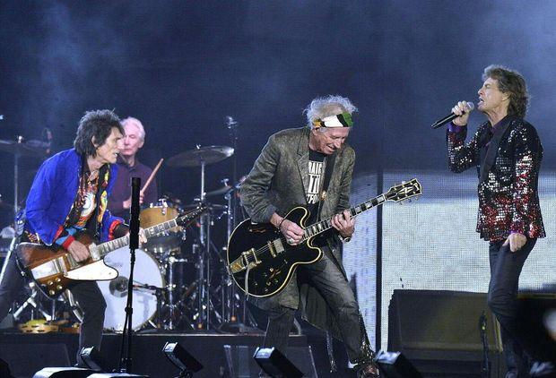 (v.l.) Die 'Rolling Stones', Ronnie Wood, Charlie Watts, Keith Richards und Mick Jagger am Samstag, 16. September 2017, anlässlich eines Konzertes in Spielberg.