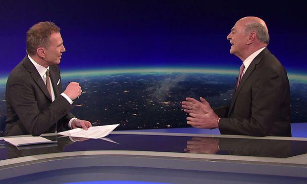 Armin Wolf beim Interview mit Erwin Pröll