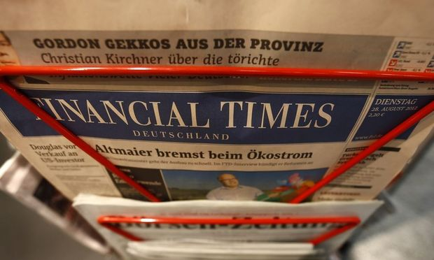 An edition of the Financial Times Deutschland (Germany) is seen at a shop in Frankfurt