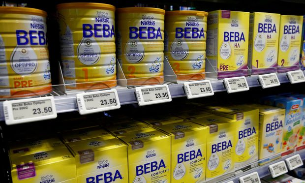 FILE PHOTO: Beba baby food of Swiss company Nestle is offered at a supermarket in Zumikon.