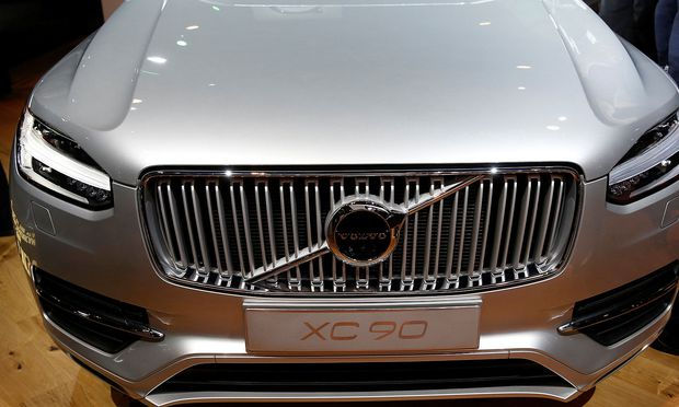 FILE PHOTO: The 2016 Volvo XC90, winner of the Truck of the Year award at the North American International Auto Show, is displayed in Detroit