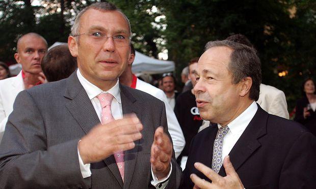 Alfred Gusenbauer mit Erich Hampel beim SPÖ-Sommerfest 2005