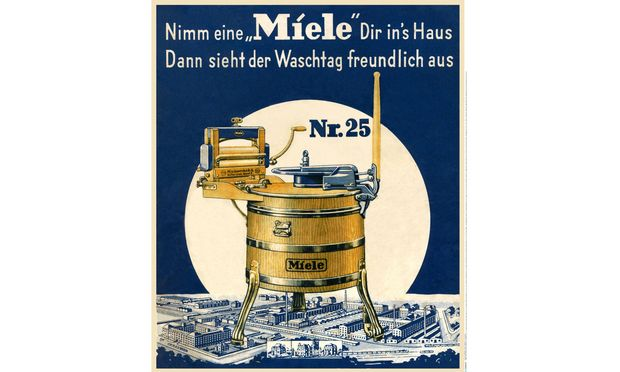 Seit 1910 erzeugt Miele Waschmaschinen in Gütersloh.