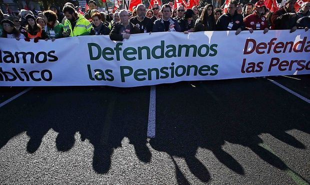 General Workers Union leader Mendez and Workers' Commissions leader Toxo protest against austerity policies, in Madrid