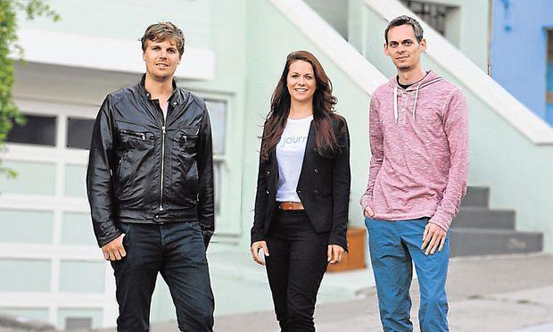 Die Journi-Gründer Andreas Röttl, Bianca Busetti und Christian Papauschek in San Francisco.