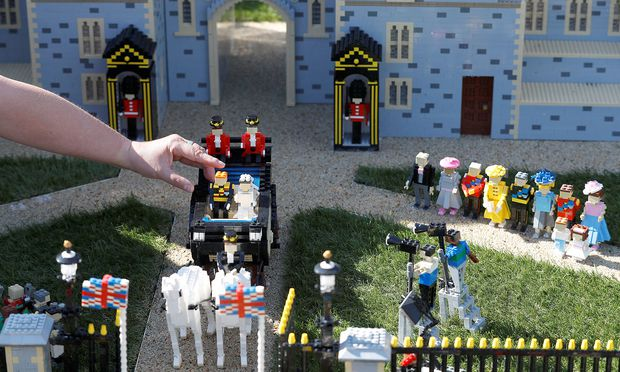 A LEGO Windsor Castle replete with the upcoming wedding between Britain´s Prince Harry and Meghan Markle, is worked on by staff at Legoland, in Windsor