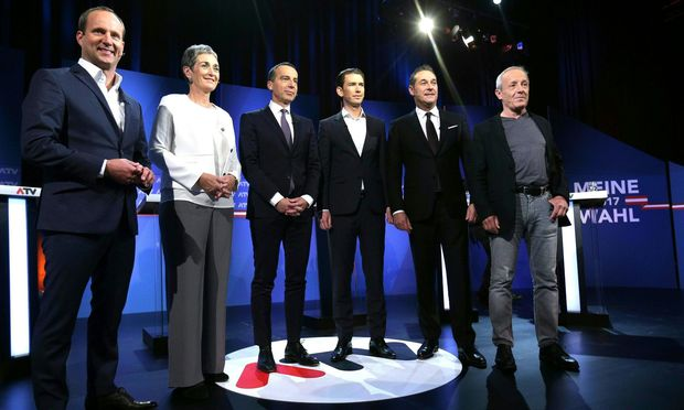 Die Spitzenkandidaten von gestern: Matthias Strolz (Neos), Ulrike Lunacek (Grüne), Christian Kern (SPÖ), Sebastian Kurz (ÖVP), Heinz-Christian Strache (FPÖ), Peter Pilz (Liste Pilz).