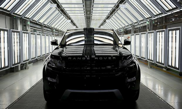 File photograph of a Land Rover Evoque car on the production line inside the Chery Jaguar Land Rover plant in Changshu, Jiangsu province