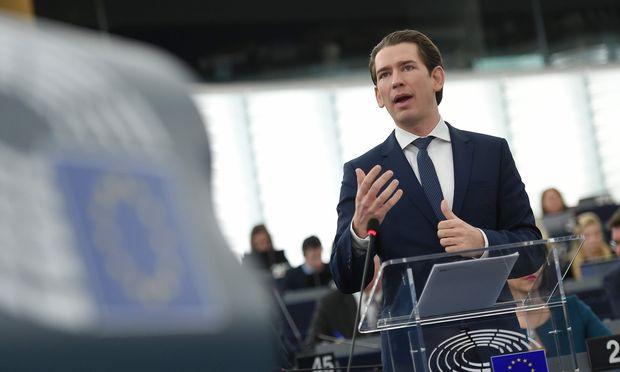 """""""Es gibt stets mehr, das uns eint, als uns jemals trennen könnte"""": Bundeskanzler Kurz beschwor am Dienstag im EU-Parlament in Straßburg die Einigkeit innerhalb der Union."""