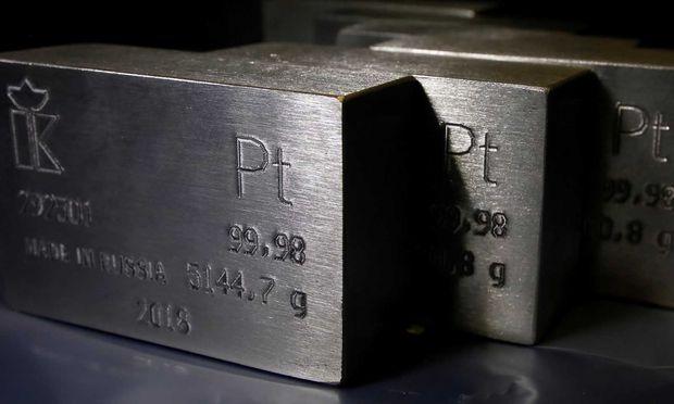 FILE PHOTO: Ingots of 99.98 percent pure platinum are seen at the Krastsvetmet non-ferrous metals plant in the Siberian city of Krasnoyarsk