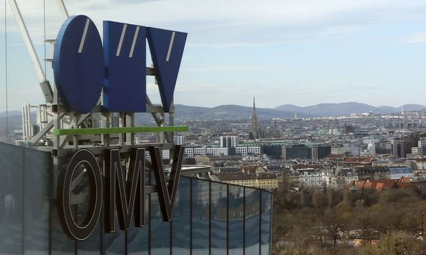 The logo of Austrian energy group OMV is pictured on the rooftop of its headquarters in Vienna