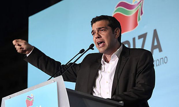 Greek leader of Coalition of the Radical Left party (SYRIZA) Alexis Tsipras delivers a speech to his