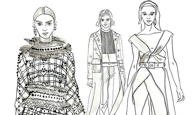 Looks von Givenchy, Valentino, Elie Saab (v.l.n.r.).
