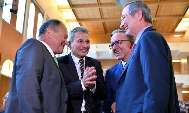 Die Sozialpartner-Präsidenten Hermann Schultes, Erich Foglar, Rudolf Kaske und Christoph Leitl