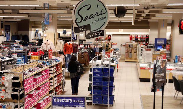 The Sears logo is seen inside a store in Brooklyn, New York