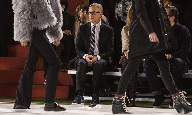 Designer Tommy Hilfiger watches on during rehearsals before presenting his Fall/Winter 2015 collection at the New York Fashion Week