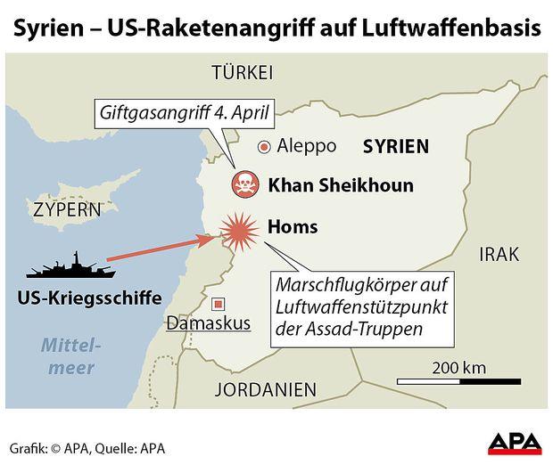US-Kriegsschiffe feuerten auf den Luftwaffenstützpunkt in Shayrat.