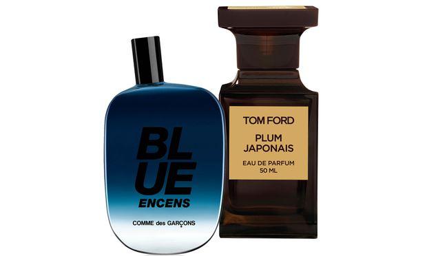 """Raritätenkabinett. """"Blue Encens"""" von Comme des Garçons (100 ml, 90 Euro) und """"Plum Japonais"""" von Tom Ford (50 ml, 180 Euro)."""