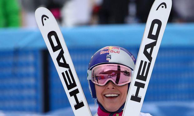 Lindsey Vonn strahlt, die Amerikanerin will zweites Olympiagold gewinnen.