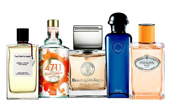 """Zitrusfrüchte. """"Néroli Amara"""" aus der """"Collection Extraordinaire"""" von Van Cleef & Arpels (130 €), """"Remix Cologne Edition 2018"""" von 4711 (30 €), """"Acqua di Neroli"""" von Ermenegildo Zegna (98 €), """"Eau de citron noir"""" von Hermès (97 €) und """"Les Infusions de Prada Mandarine"""" von Prada (122 €). / Bild: (c) Beigestellt"""