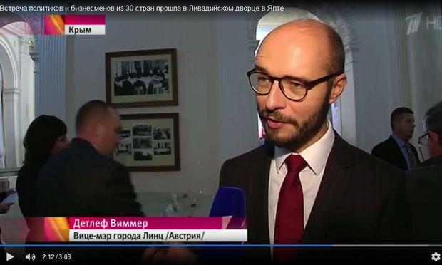 Detlef Wimmer bei einem TV-Interview mit dem russischen Fernsehen